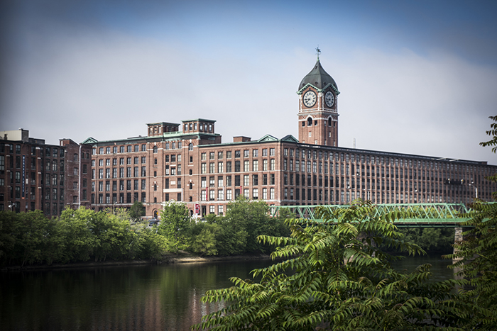 The New Balance factory in Lawrence sits along the Merrimack River.